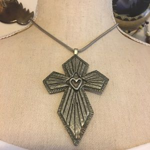 Vintage Marcie signed pewter cross with chain